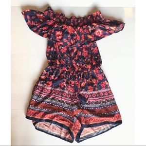 Band Of Gypsies Off Shoulder Floral Ruffle Romper